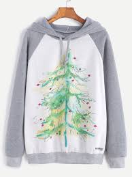 Color Block Christmas Tree Print Hooded Sweatshirt 0 00