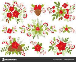 Vektor Weihnachten Blumensträuße Mit Weihnachtsstern