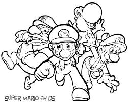 Kleurplaat Mario Luigi Yoshi Wario Mario Kleurplatennl