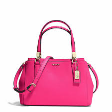 ... Pink Leather Satchel Bags Coach Madison Mini Christie Carryall In  Saffiano Leather ...