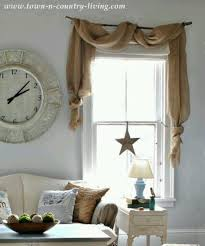 country decorating style in a farmhouse family room burlap swagburlap curtainsburlap kitchen