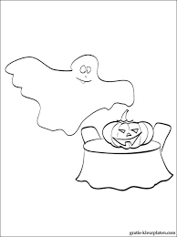 Spook Met Grote Pompoen En Vleermuis Gratis Kleurplaten