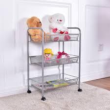 com custpromo 3 tier basket stand kitchen bathroom trolley full metal rolling storage cart with steel mesh baskets for storage gray home