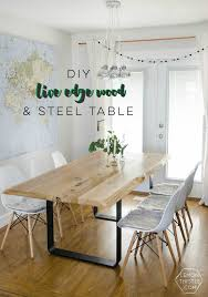 diy live edge wood dining room table with steel legs uhhhhm love this so modern but rustic