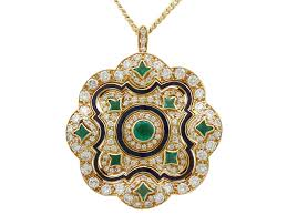 antique 0 72 ct emerald and 1 93 ct diamond enamel and 18 ct yellow gold pendant