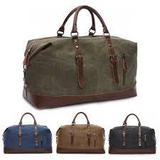 vintage men s leather military canvas travel luggage shoulder handbag duffle bag 29 99