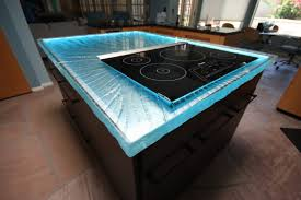 lighting counter. kitchen glass counter top with blue lights lighting r