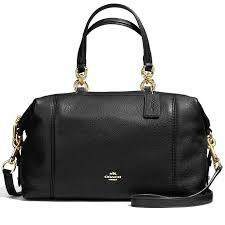 Coach Lenox Satchel In Pebble Leather Handbag Gold   Black   F59325