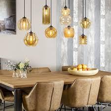 8 Lichts Hanglamp Amber Glazen Kappen Straluma