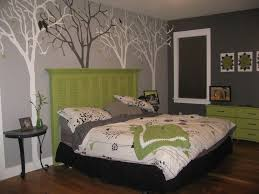 green and gray bedroom ideas. delectable gray bedroom by artwork trees wall paint decor plus pleasing green headboard design idea and classic black side table ideas g