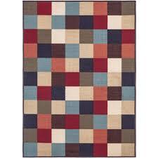 Checkered Design Ottomanson Checkered Design Multi 3 Ft 3 In X 5 Ft Non Skid