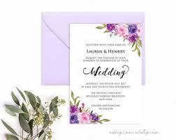 Wedding Invitations Templates Purple Lavender Invitation Template Purple Lilac Watercolor Flowers Etsy