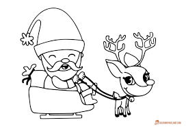 Santa Claus Reindeer Coloring Pages With Printable For Christmas