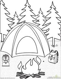 Small Picture Camping Coloring Page Campfires Tents and Backpacks