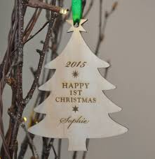 personalised wooden baby s first christmas tree bauble