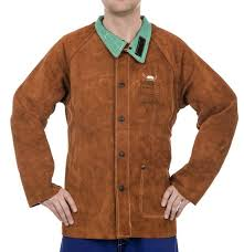 weldas welding 44 7300 lava brown split cowhide welder jacket