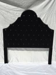 Black Headboard Queen Headboard Black Velvet Upholstered Headboard with  Rhinestones Velvet Tufted Upholstered Headboard Tufted Headboard