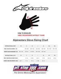 Sizing Chart Alpinestars Auto Racing Glove