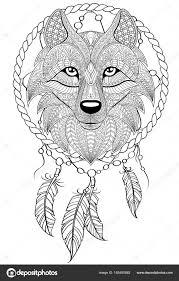 Lapač Snů S Vlkem Tetování Nebo Dospělého Antistresové Omalovánky