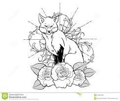 эскиз татуировки Fox с эскизом винтажной нео традиционной татуировки