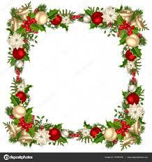 Weihnachten Rahmen Mit Tannenzweigen Kugeln Glocken Holly