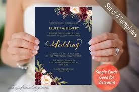 Wedding Invitation Set Templates 4 Double Sided Navy Wedding Invitation Set Templates Etsy
