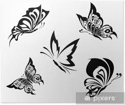Plakát černá Bílá Motýly Tetování