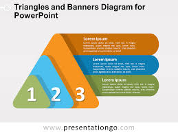 For Powerpoint Triangles And Banners Diagram For Powerpoint