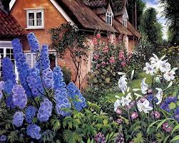 Romantic Cottage Garden With Delphiniums By Susan Rios  Wallcoo Romantic Cottage Gardens