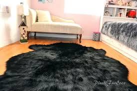 big faux fur rug black sheepskin large in color round floor w