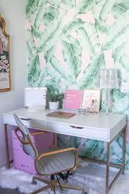 pink office decor. Blogger Office | Palm Print Wall Pink Decor Blog T