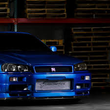 wallpaper 2048x2048 nissan skyline gtr r34 blue front