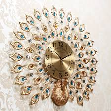 Creative Peacock Wall Clock Stylish Living Room Atmosphere Hanging Table  European Personality Clocks Bedroom Home Luxury