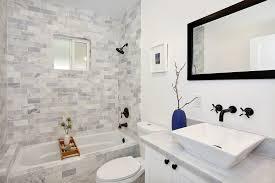 bathroom gray subway tile. Gray Subway Tile Bathroom Transitional With Black Faucet Frame. Image By: Kenihan Development L