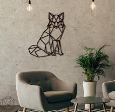 metal wall art fox geometric animal