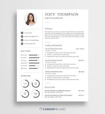 Free Modern Resume Template Zoey Career Reload