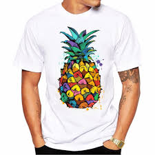 T Shirt With Pineapple Design Us 5 19 35 Off New 2019 Summer Fashion Water Color Pineapple Pizza Design T Shirt Mens High Quality White Modal Tops Hipster Tees In T Shirts From