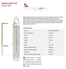 A319 Seating Chart Swiss Air Airlines Airbus A319 Aircraft Seating Chart