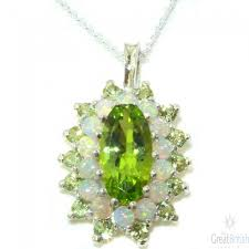 9ct white gold natural large peridot opal 3 tier cer pendant necklace zoom