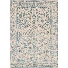 creative blue and ivory rug cievi home
