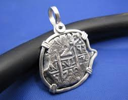 2 reale odd shaped spanish shipwreck coin pendant in sterling silver