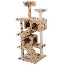 Cat Furniture Cat Tree Tower Condo Scratching Post Paw patterns