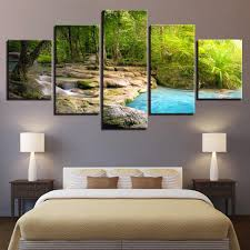 stylist ideas lake wall art interior decor home canvas landscape waterfall 5 piece house district