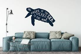 sea turtle silhouette the of the sea speaks to the soul vinyl wall words decal sticker graphic