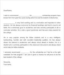 College Recommendation Letter For Student Sample Reference Letter For Student Scholarship Personal College