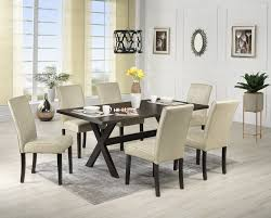 Walnut Living Room Furniture Sets Marlo 7 Piece Dinette Set Walnut And Beige Leons