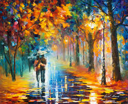 Painting Canvas Autumn Hug Palette Knife Oil Painting On Canvas By Leonid