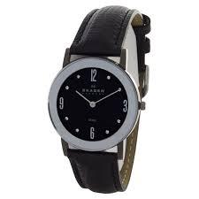 skagen 39lmsm1 black dial black leather band watch skagen at truefacet