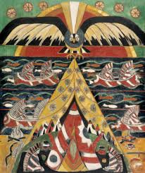 these paintings are rife with native american imagery of pottery headdressed figures in canoes tes cooking fires and eight spoked wheel shapes fig
