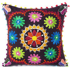 brown boho embroidered colorful